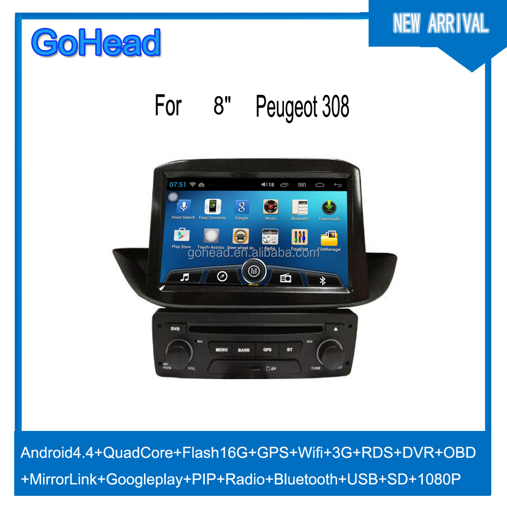 for peugeot 308 car dvd gps android navigation quad core usb sd wifi 3g rds radio mp5 dvr obo. Black Bedroom Furniture Sets. Home Design Ideas