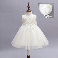 For 1 Years Old Kids Korean Fashion Party Wear Dress Lovely Baby Party Dress With Hat