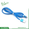 Blue Color Wide Noodle Micro USB Cable For Android Device 1 Meter Length With Soft Design