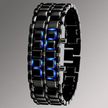 alloy strap slap bracelet led watch,promotion wholesale blue lava binary watch