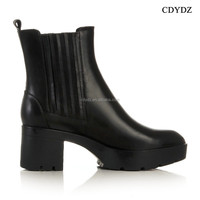 CDYDZ Y143 European and American street fashion PU thick loe heel l winter eather side zipper ankle boots Women