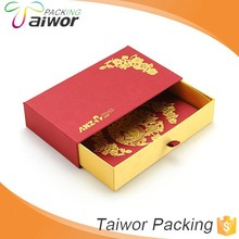 Chinese Lunar New Year Custom Design Slide Style Luxury Red Packet Box