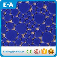 Primitive Home Decor Blue Mosaic Polish Bubble Glass Tile