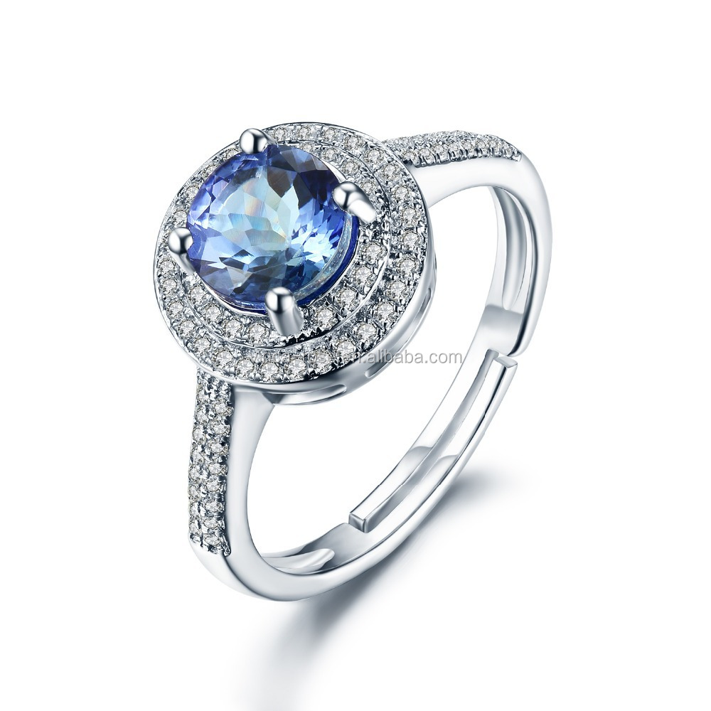 gemstone jewelry in silver engagement ring