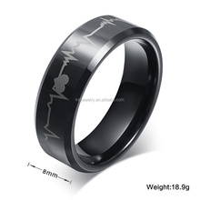 IP Black Plated Tungsten Carbide Ring with Heartbeat Laser Band Ring
