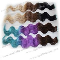 "22"" Ombre color as picture Brazilian virgin hair tape weft"