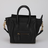 Classic High Quality Genuine Cowhide Leather Black Tote Bulk Wholesale Designer Smile Face Handbag