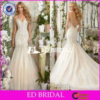 WX001 2016 Fashion Cap Sleeve Open Back Heavy Crystal Beaded Mermaid Wedding Dress