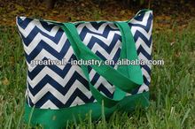 Navy Chevron with Green Tote Bag, Purse, Tote