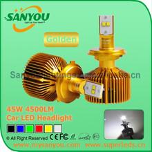 Sanyou 45W Car LED Headlight, golden color 3000K 4500LM auto LED Headlight ,12V automotive headlight H4/H7/H8/H9/H11/H16/D