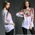 Costilla cuello largo de la manga de la mujer blanco blusa de algodón, impresión de la mariposa imprimir blusa