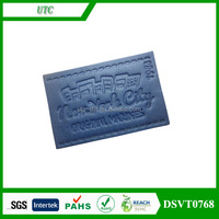 Wholesale self adhesive branded custom embossed leather patch