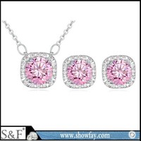 Copper plated 18k gold jewellery set high quality zircon jewelry set