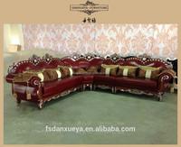 danxueya lous XVI style leather corner sofa /luxury livingroom italian furniture /antique reproduction furniture 3102