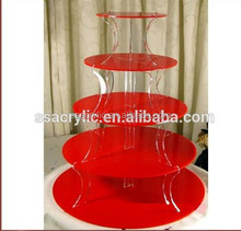mini cake stand 5mm Custom red 5 tier acrylic cupcake stand / acrylic tower stand