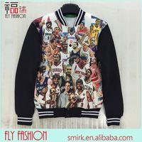 DX109# new 2014 autumn mens baseball jackets 3D print Jordan basketball stars fashion jacket long sleeve coat