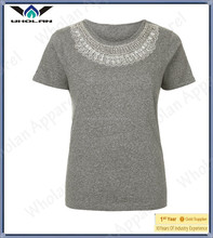 New arrival fashion t shirt custom glass beaded women t shirt