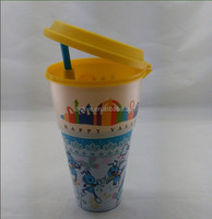 Multifunction custom plastic popcorn bucket with lid and straw can drink beverage