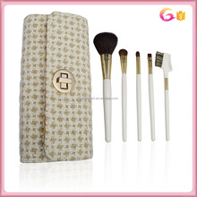 Pro makeup sets 5pc white handle brush with evening party case and woven fabric outside nylon fabric inside