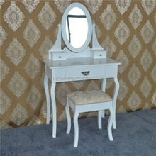 Mirrored bedroom vanity table set, wooden dressing table set, dresser table with mirror