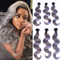 "New Arrival 8""-30"" 1b / Grey Human Hair Weave Body Wave Virgin Brazilian Hair Extension Hair Wefts in Stock"