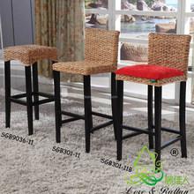 China manufacturer vintage rattan bamboo wooden high chair bar stool