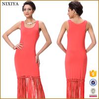 2015 Hot selling fashion women red tassels maxi dress sex