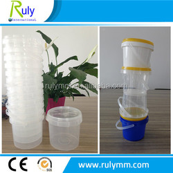 wholesale 500ml 1L 2L transparent/white plastic bucket for food packing