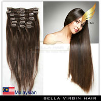 2014 Wholesale price easy to apply Malaysian remy clip in hair extensions