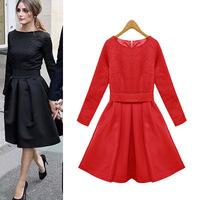 New items! Fashion women elegant jacquard weave women dress long sleeve dress