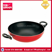 Well cooking non stick coating wok with double handle
