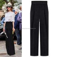 Elegant women fashion high waist pants plus size black pants