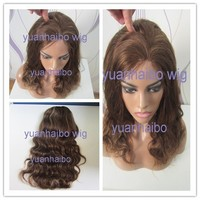 """Stock! 6A Top Quality 14"""" Highlight 100% Virgin Brazilian Human Hair Loose Wave Full Lace Wigs with Natural Hairline"""