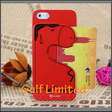 Korea style lovely horse TPU Plastic cover case for iphone5S with card holder