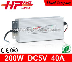 China manufacturer sell high efficiency single output constant voltage AC DC 200W 40A 5V LED driver for LED display screen