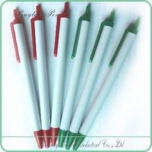 no grip advertising pens, white stick promotion pens, plastic click cheap stick pen