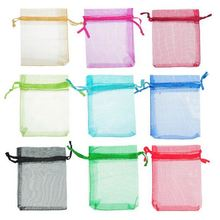 100pcs/lot 7x9cm Random Colors Jewelry Packing Drawable Organza Bags Wedding Gift Candy Favor Bags & Pouches