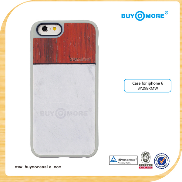 New hot selling genuine marble phone case for iphone 6, marble + wood + TPU case for iphone 6