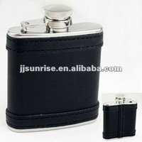 2.5OZ mini leather hip flask