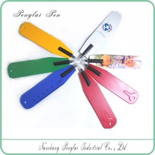 customized advertising plastic flat bookmark ball pen,promotional plastic pen