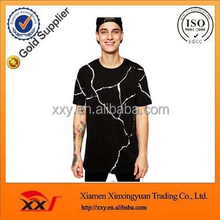 OEM fashion apparel super longline tall tee oversized crack silk screen printing skater fit extended fringe t shirts