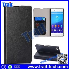 Crystal Texture partten Card Slot Flip Stand PC PU Leather black Case for Sony Xperia Z4 Z3X with wholesale price,fast delivery