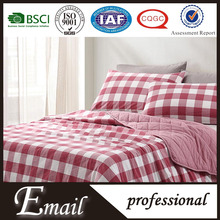 Red Plaid cotton reversible fabric bed cover high level bedding qiltu set