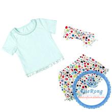 cute baby latest designs aqua dots pompom romper clothing short pant headband 3pcs/set