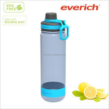 2014 new product 22oz blue plastic water bottle with silicone sleeve ,big space to print logo
