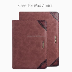 With stand up function and cards slots phone pu & genuine leather cover for ipad/mini