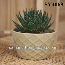 Precioso Caqui pequeñas vasijas de cerámica