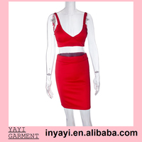 Two Piece Sets Sexy Dress For Lady Red Evening Dress