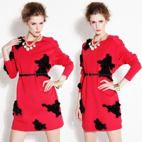 2015 maxnegio spring/autumn black floral applique work design knee length new dresses with long sleeves