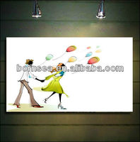 running girl and boy oil painting decoration
